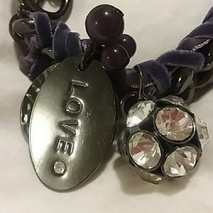 Heavy purple crushed velvet and metal bracelet